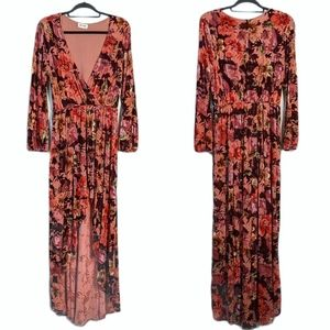 Anthropologie Love Sadie Velvet Floral Dress Large